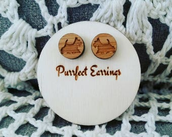Handmade wooden dog stud earrings 12mm