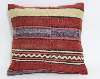 Turkish Striped Kilim Pillow Ethnic Pillow 18x18 Decorative Kilim Pillow Throw Pillow Sofa Pillow Ethnic Pillow Cushion Cover SP4545-1135