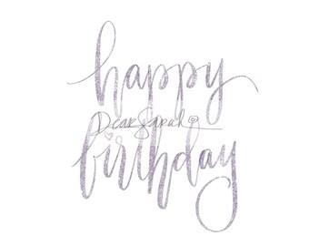 Purple glitter happy birthday