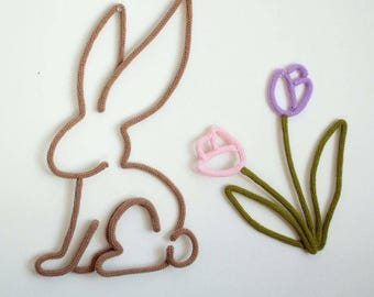Lapin en tricotin - Fleur en tricotin - Tulipe en tricotin - Lapin de Pâques - Décoration murale