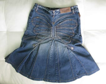 Moschino Jeans Denim Butterfly  Flared Skirt