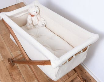 KootaCrib Baby's first bed entirely of oak wood and bassinet of eco-wool /  Wool-filled mattress