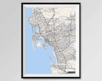 SAN DIEGO Map Print, Modern City Poster, Black and White Minimal Wall Art for the Home Decor