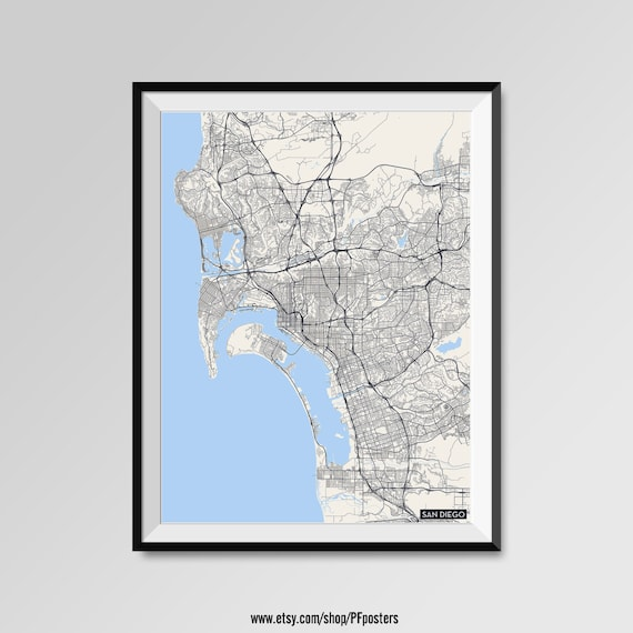 San diego map print modern city poster black and white for Modern home decor san diego
