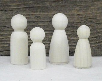 "Neat Little Wooden ""Peg"" People Set For Painting or Staining For Crafting - Set of 4"