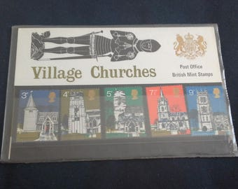 Post office stamps village churches 1972 stamp presentation pack