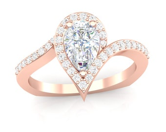 Rose Gold Engagement Ring Pear Shape Halo Ring 0.25 ct Rounds Semi Mount for 0.75 ct Pear Shape 8x5 Brand New 14K Setting Only Or Moissanite