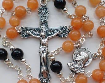 Catholic Rosary Beads with a filigree Crucifix. Aventurine and Black Onyx Rosary. Traditional Catholic Rosary.