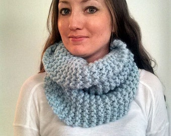 Knit Scarf, Knit Cowl Scarf, Knit Circle Scarf, Knit Infinity Scarf, Blue Knit Scarf, Chunky Knit Cowl, Riverside Cowl - Glacier
