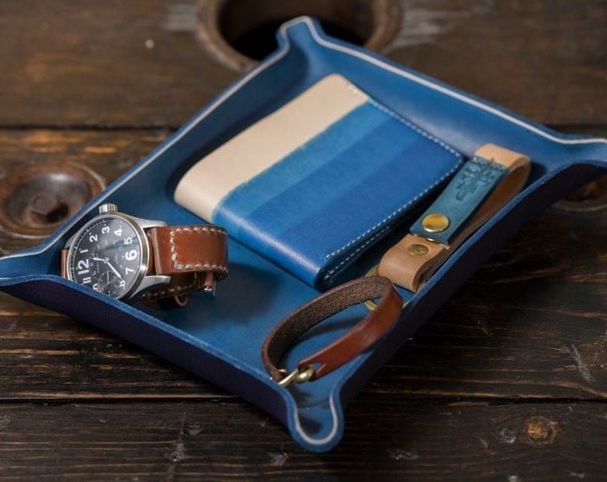 Catchall Tray Leather Catch All Leather Valet Tray Blue Dyed Indigo Dip Dyed Leather Catchall Tray Dresser Storage Leather Tray Desk Storage