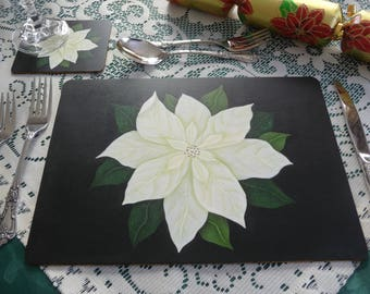 Handed Painted Placemats & Matching Coasters (CREAM)
