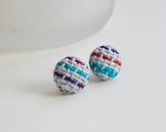 Earrings - Wrap Scrap Earrings - Handwoven Wrap Scrap - Titanium - Earrings - Multicolored - Striped