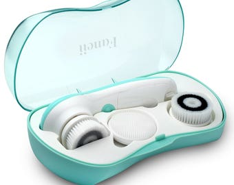 Fancii Waterproof Facial Cleansing Spin Brush Set with 3 Exfoliating Brush Heads - Complete Microdermabrasion Face Scrubbing Spa System