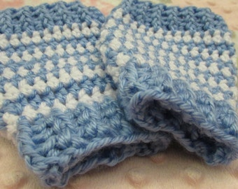 Blue white stipre Leg Warmers, sling buddies Baby and Toddlers sizes. Crochet wool warm winter clothes wear in a baby sling