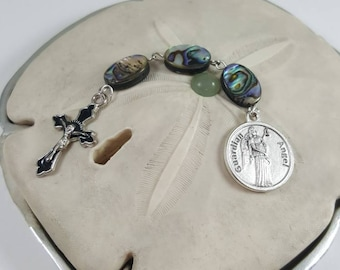 New Item! Guardian Angel Inscribed Pocket Rosary in Abalone stones!  Handmade, Prayer beads, Catholic gifts, Rosary Beads, Baptism gift