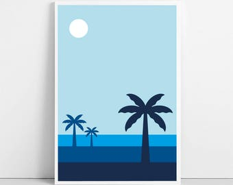 Tropical Landscape Poster | Night Blue Print | Digital Illustration | Africa Caribbean | Palm Tree Printable Wall Art | Instant Download