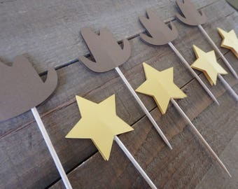 Western Cupcake Toppers, Cowboy Cupcake Toppers, Sheriff Cupcake Toppers, Wild West cupcake toppers, Woody Theme Party, Sheriff Star,