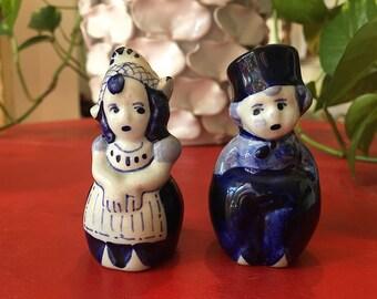 Vintage Dutch Girl + Boy Salt + Pepper Shakers Made in Holland