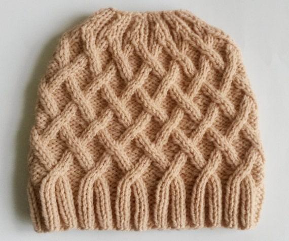 Aran Messy Bun Hat. Handknit. Original design. Made in Ireland. Cute girl's beanie. Ponytail hat. Girlfriend gift. Knit bun hat. Pink beanie