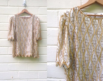 Vintage 80s gold sequin top / silk beaded blouse
