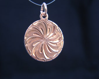 Hand Engraved Bright Cut Pinwheel Design Copper Pendant
