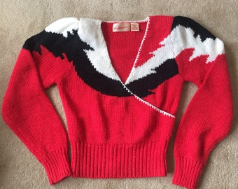 Red vintage women's sweater, vintage sweater, 1980s vintage
