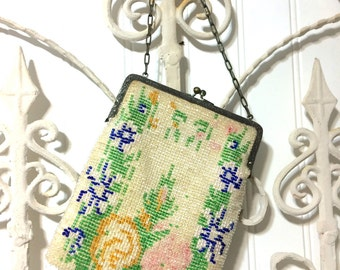 Vintage Floral  Glass Beaded Purse