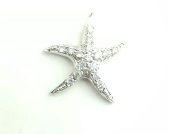Vintage Sterling Silver and Rhinestone Starfish Sea Star Charm Pendant