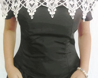 Black Evening Dress Vintage Black and White Mother of the Bride Dress size 11/12