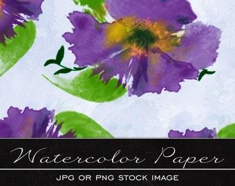 Pretty purple Floral, digital watercolor paper, drawing, illustration, print, printable, download, scrapbooking, JPG