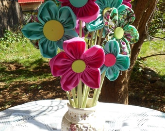 Fabric Flower Bouquet - Raspberry & Turquoise