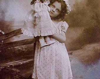 Sweet Edwardian Era Postcard with Precious Girl and Her Doll