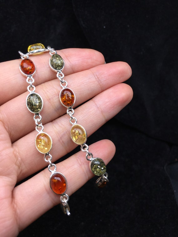Natural amber chain with silver