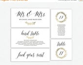 50% OFF Wedding Seating Chart Template | Seating Chart, Seating Cards, Table Cards, Instand Download | Gold Laurel | EDN 5147