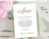 """50% OFF Wedding Welcome Bag Note, Gold Wedding Calligraphy, Welcome Bag Letter, Printable Wedding Itinerary, Agenda 