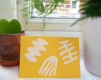 Forma white yellow blank greetings card. Birthday, valentines, just to say. Blank inside handprinted card. Screenprinted illustrated shapes.