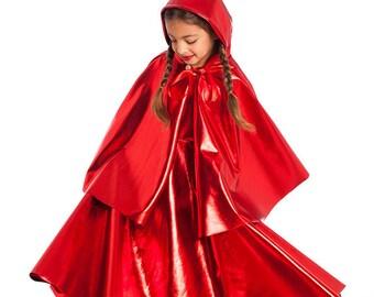 Girls Halloween Costumes, Kids Costumes, Girls Red Dress, Girls Cape, Toddler Costume, Little Red Riding Hood costume, Girls Cosplay.