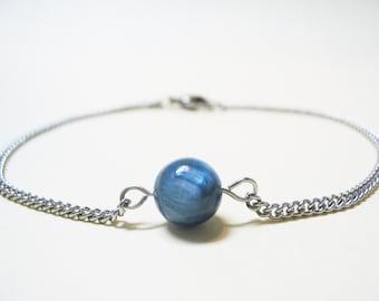 Blue Kyanite Bracelet Minimalist Gemstone Bracelet Kyanite Bracelet Minimalist Jewelry Spiritual Bracelet Steel Bracelet Chain Bracelet