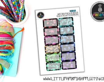 BLACK PAINT SPLATTER Halfbox Planner Stickers | Repositional Matte Stickers | Hb10