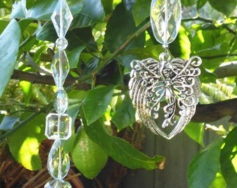 suncatcher, garden decor, fairy garden. garden art, garlands, hanging crystal, outdoor decor, made in Australia, angel, handmade yard art