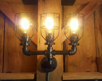 Rustic Industrial Lighting- Triple Sconce Wall Light- Iron Pipe Light- Wall light- Barn light- FREE SHIPPING!