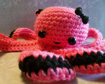 Crochet Pink and black octopus