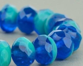 Czech Glass Beads - Czech Glass Rondelles - Turquoise Aqua Mix Opaque Transparent - 9x6mm - 25 beads