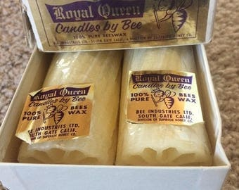 "Vintage Beeswax 20"" Cream Candles Set of 2 Royal Queen 100% Candles Made by Bee in USA"