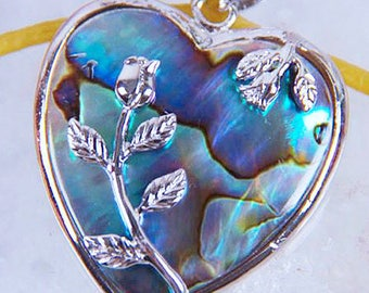 Natural New Zealand Abalone Shell Pendant, Shell Necklace, Silver Setting, Silver Rose, Heart Shaped Pendant