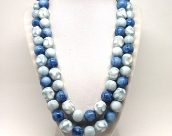 Delightful Double Strand Blue With Marble Coloring Beads Vintage Estate Necklace