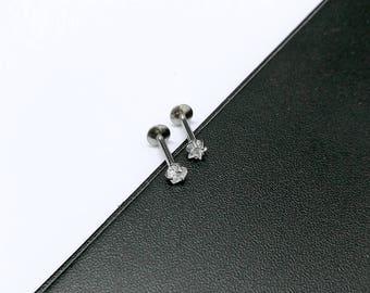 CZ Clear Gem Internally Threaded Heart Star Tragus Labret Cartilage Earring Helix Stud Bar Steel Silver 16g 1.2mm -  Guaranted Non Allergic