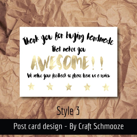 Small business, thank you, 50 pack, style 3 , A6 thank you card, thank you, handmade stationery, postcard, business note card