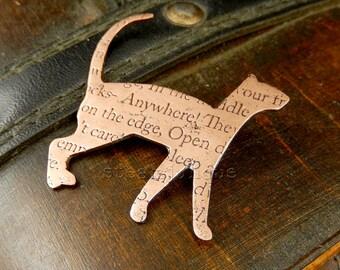 Cat brooch, cat pin, cat jewellery, kitty jewellery, text jewellery, cat lover gift, cat fancier gift, crazy cat lady gift, animal jewellery