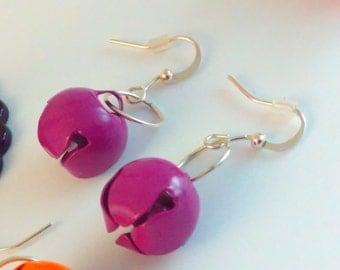 Handmade, bell earrings, PURPLE earrings, bell drop earrings, jingle bell, bells, handmade earrings, handmade bell earrings, drop earrings